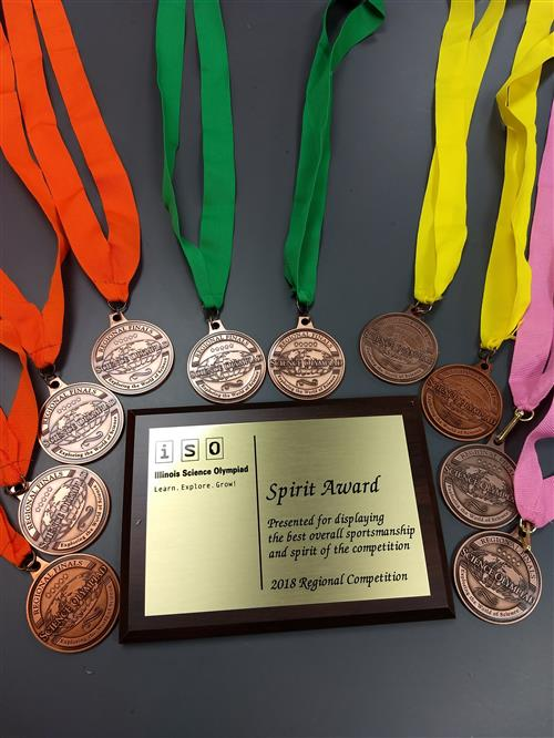 Leyden earned the SPIRIT AWARD and all of these medals at the 2018 Science Olympiad!